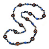 Long Blue Semiprecious Stone, Ceramic Bead, Brown Wood Ring Necklace - 102cm L