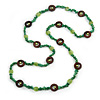 Long Forest Green Semiprecious Stone, Ceramic Bead, Brown Wood Ring Necklace - 106cm L