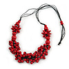 Cherry Red Wood Bead Cluster Black Cotton Cord Necklace - 76cm L/ Adjustable