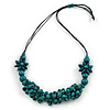 Teal Wood Bead Cluster Black Cotton Cord Necklace - 76cm L/ Adjustable