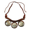 Statement Mother Of Pearl, Brown Wood Bead Cotton Cord Necklace - 42cm L (Min)/ Adjustable