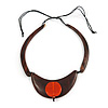 Statement Wooden Bib Style Necklace with Orange Ceramic Bead - Adjustable