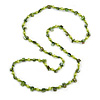 Lime/ Green Glass and Shell Bead Long Necklace - 106cm Long