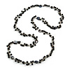 Long Black Glass Bead, Sea Shell with Silver Tone Chain Necklace - 140cm L