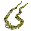 Multistrand Layered Olive Green Glass Bead Necklace - 66cm L