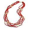 Multistrand Red Glass Bead Cream Faux Pearl Long Necklace - 70cm L