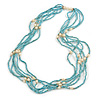 Multistrand Dusty Light Blue Glass Bead Cream Faux Pearl Long Necklace - 70cm L