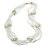Multistrand Snow White Glass Bead Cream Faux Pearl Long Necklace - 70cm L