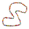 Multicoloured Resin Bead, Semiprecious Stone Long Necklace - 86cm L