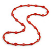 Stylish Carrot Red Ceramic, Glass Bead with Gold Tone Metal Rings Long Necklace - 90cm L