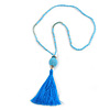 Trendy Light Blue Glass Bead Cotton Tassel Necklace - 72cm L/ 14cm Tassel