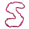 Stylish Deep Pink Semiprecious Stone, Magenta  Sea Shell Nugget Necklace - 86cm Long