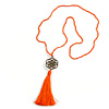 Orange Crystal Bead Necklace with Bronze Tone Seed Of Life Mandala/ Silk Tassel Pendant - 88cm L/ 10cm Tassel