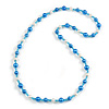 Blue/ White/ Transparent Glass Bead Long Necklace - 86cm Long