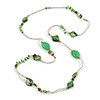Long Green/ Transparent Shell, Acrylic, Wood Bead Necklace - 116cm L