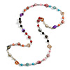 Long Multicoloured Glass and Shell Bead with Silver Tone Metal Wire Element Necklace - 120cm L