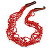 Ethnic Multistrand Red Glass Bead, Semiprecious Stone Necklace With Wood Hook Closure - 60cm L