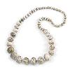 Long Graduated Wooden Bead Colour Fusion Necklace (White/ Black/ Gold) - 76cm Long