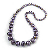 Long Graduated Wooden Bead Colour Fusion Necklace (Purple/ Black/ Gold) - 76cm Long