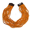 Dusty Orange/ Bright Orange Glass Bead Multistrand, Layered Necklace With Wooden Square Closure - 64cm L