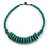 Teal Button, Round Wood Bead Wire Necklace - 46cm L