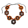 Brown/ Orange Wood Floral Motif Black Cord Necklace - 60cm L/ Adjustable