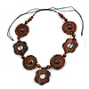 Brown Wood Floral Motif Black Cord Necklace - 60cm L/ Adjustable