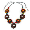 Brown/ Multicoloured Wood Floral Motif Black Cord Necklace - 60cm L/ Adjustable