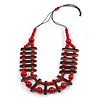 Cherry Red/ Brown Wood Bead Black Cotton Cord Necklace - 70cm L