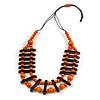 Orange/ Brown Wood Bead Black Cotton Cord Necklace - 70cm L
