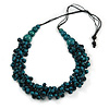 Teal Wood Bead Cluster Black Cotton Cord Necklace - 80cm L/ Adjustable