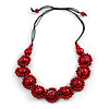Cherry Red Wood Bead Floral Cotton Cord Necklace - Adjustable