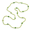 Delicate Lime Green Glass and Shell Bead Long Necklace - 110cm Long