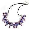 Purple/ Violet Glass Bead, Sea Shell Nugget Black Cord Necklace - 50cm L/ 4cm Ext
