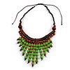 Statement Wood Cord Fringe Neklace In Lime Green and Brown - Adjustable