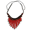 Statement Wood Cord Fringe Neklace In Red and Brown - Adjustable