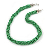 Mulistrand Twisted Green Glass Bead Necklace - 48cm Long