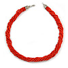 Mulistrand Twisted Red Glass Bead Necklace - 48cm Long