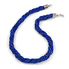 Mulistrand Twisted Blue Glass Bead Necklace - 48cm Long