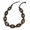 Statement Wood Oval Link with Green Ceramic Bead Black Cord Necklace - 60cm L