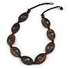 Statement Wood Oval Link with Teal Ceramic Bead Black Cord Necklace - 60cm L