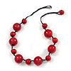 Red Wood Bead Black Cotton Cord Necklace - 52cm Long
