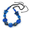 Signature Wood, Ceramic, Acrylic Bead Black Cord Necklace (Dark Blue/ Blue) - 60cm L (Adjustable)