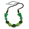 Romantic Butterfly Beaded Black Cord Necklace in Green - 56cm L - Adjustable