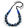 Signature Wood, Ceramic Bead Black Cord Necklace (Dark Blue) - 66cm L (Adjustable)