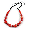 Signature Wood, Ceramic Bead Black Cord Necklace (Red) - 66cm L (Adjustable)
