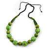 Signature Wood, Ceramic Bead Black Cord Necklace (Lime Green) - 66cm L (Adjustable)