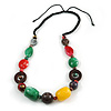 Multicoloured Resin, Wood Bead with Black Cotton Cord Necklace - 64cm L