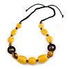 Yellow Resin, Wood Bead with Black Cotton Cord Necklace - 64cm L