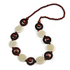 Milky White Ceramic and Brown Wood Bead Necklace - 74cm Long